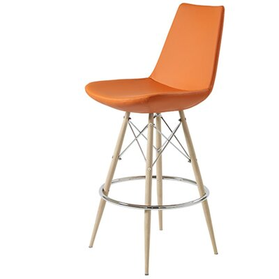 Shinkle Dowel 24 Bar Stool Leg Color: Natural, Seat Color: Pastel Orange Leatherette