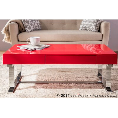 Arabella Contemporary Coffee Table Table Top Color: Red