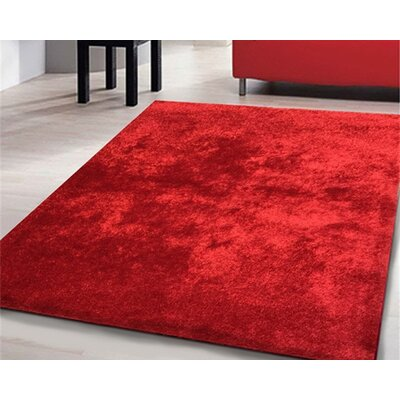Heineman Solid Shag Hand-Tufted Red Area Rug Rug Size: Rectangle 76 x 103