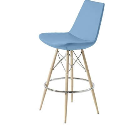 Shinkle Dowel 29 Bar Stool Leg Color: Black, Seat Color: Sky Blue Organic Wool