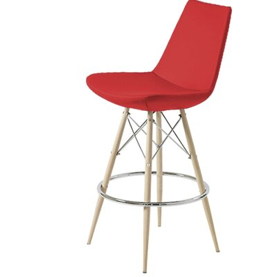 Shinkle Dowel 29 Bar Stool Leg Color: Natural, Seat Color: Red Leatherette