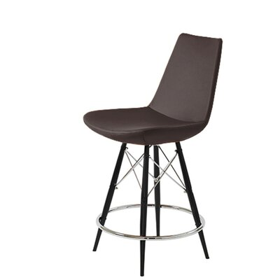 Shinkle Dowel 29 Bar Stool Leg Color: Black, Seat Color: Brown Leatherette