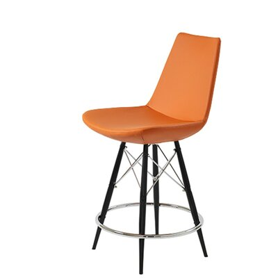 Shinkle Dowel 29 Bar Stool Leg Color: Black, Seat Color: Pastel Orange Leatherette