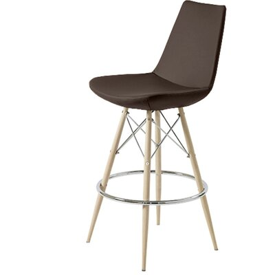 Shinkle Dowel 24 Bar Stool Leg Color: Black, Seat Color: Brown Leatherette