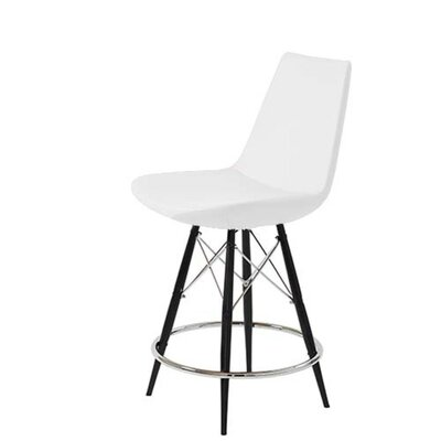Shinkle Dowel 29 Bar Stool Leg Color: Natural, Seat Color: White Leatherette