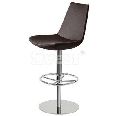 Shinkle Piston Adjustable Height Swivel Bar Stool Leg Color: Stainless Steel, Seat Color: Black Leatherette