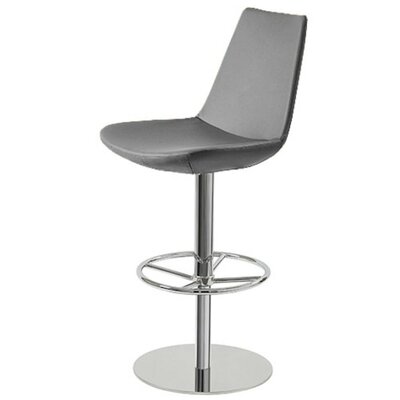 Shinkle Piston Adjustable Height Swivel Bar Stool Leg Color: Stainless Steel, Seat Color: Gray Leatherette