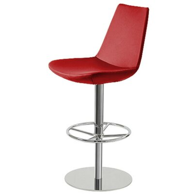 Shinkle Piston Adjustable Height Swivel Bar Stool Leg Color: Stainless Steel, Seat Color: Red Leatherette