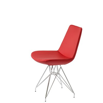 Shinkle Tower Upholstered Dining Chair Upholstery Color: Red Leatherette