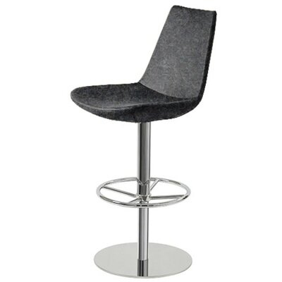 Shinkle Piston Adjustable Height Swivel Bar Stool Leg Color: Stainless Steel, Seat Color: Dark Gray Organic Wool