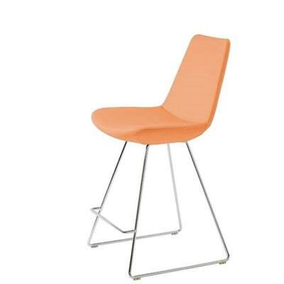 Shinkle 24 Bar Stool Seat Color: Pastel Orange Leatherette