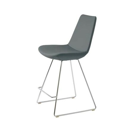 Shinkle 24 Bar Stool Seat Color: Gray Leatherette