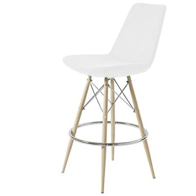Shinkle Dowel 24 Bar Stool Leg Color: Black, Seat Color: White Leatherette