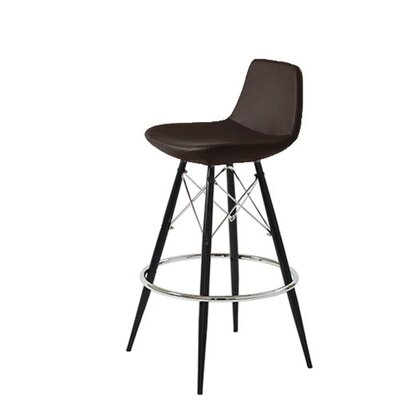 Shinn Dowel 24 Bar Stool Leg Color: Black, Seat Color: Brown Leatherette