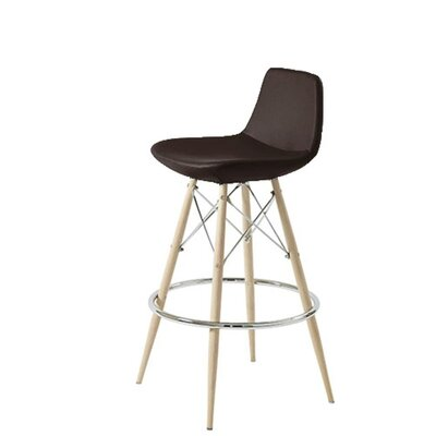 Shinn Dowel 24 Bar Stool Leg Color: Natural, Seat Color: Brown Leatherette