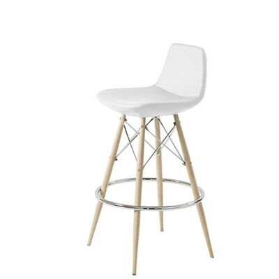 Shinn Dowel 24 Bar Stool Leg Color: Natural, Seat Color: White Leatherette
