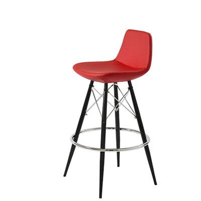 Shinn Dowel 24 Bar Stool Leg Color: Black, Seat Color: Red Leatherette