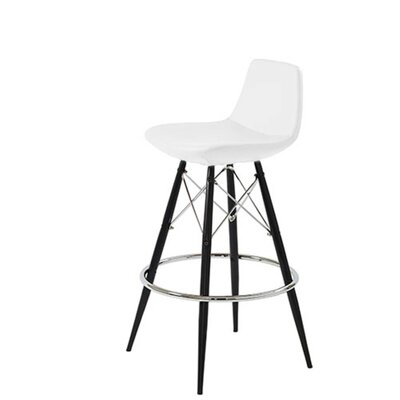 Shinn Dowel 29 Bar Stool Leg Color: Black, Seat Color: White Leatherette