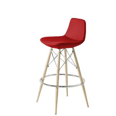 Shinn Dowel 29 Bar Stool Leg Color: Natural, Seat Color: Red Leatherette