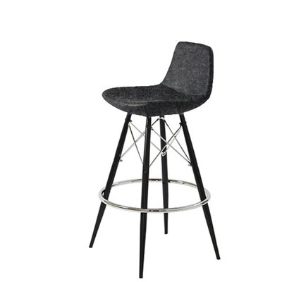 Shinn 24 Bar Stool Leg Color: Black, Seat Color: Dark Gray Organic Wool