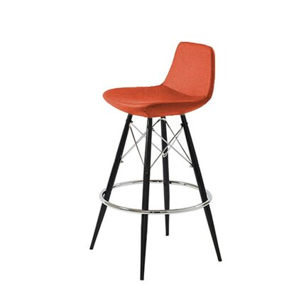 Shinn 24 Bar Stool Leg Color: Black, Seat Color: Orange Organic Wool