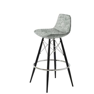 Shinn Dowel 29 Bar Stool Leg Color: Black, Seat Color: Light Gray Organic Wool