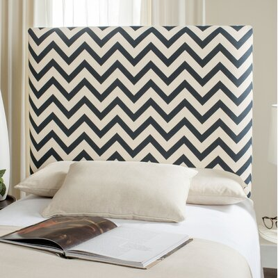 Cespedes Upholstered Panel Headboard Size: King, Upholstery: Navy / White