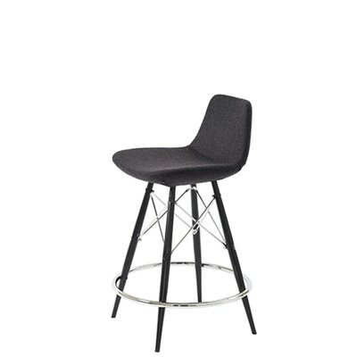 Shinn Dowel 29 Bar Stool Leg Color: Black, Seat Color: Dark Gray Organic Wool