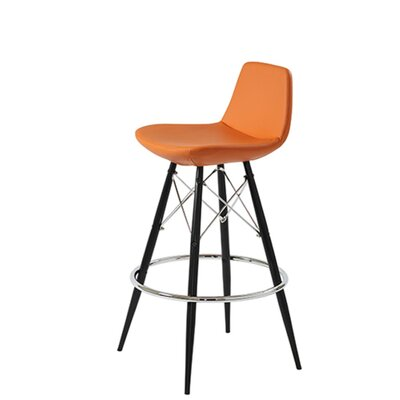 Shinn Dowel 29 Bar Stool Leg Color: Natural, Seat Color: Orange Organic Wool