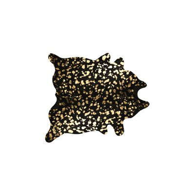 Houchin Hand-Woven Cowhide Black/Gold Area Rug� Rug Size: Novelty 45 x 65