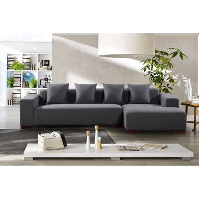 Checketts Modern Sectional Upholstery: Dark Gray, Orientation: Left Hand Facing