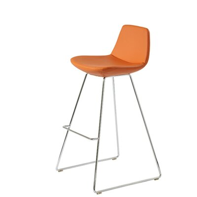 Shinn 29 Bar Stool Seat Color: Orange Organic Wool
