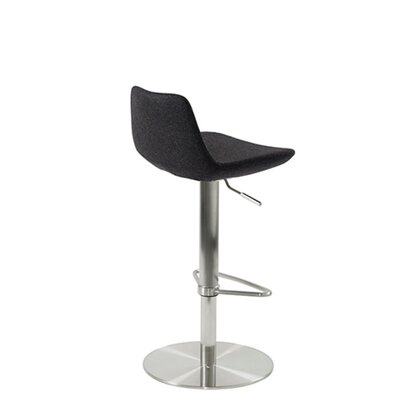 Shinn Piston Adjustable Swivel Height Bar Stool Leg Color: Chrome, Seat Color: Black Leatherette