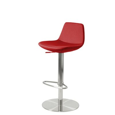 Shinn Piston Adjustable Swivel Height Bar Stool Leg Color: Stainless Steel, Seat Color: Red Leatherette
