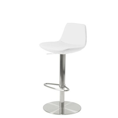 Shinn Piston Adjustable Swivel Height Bar Stool Leg Color: Stainless Steel, Seat Color: White Leatherette
