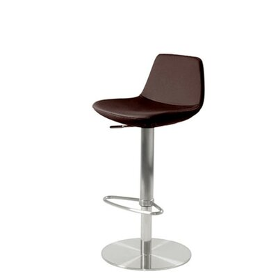 Shinn Piston Adjustable Swivel Height Bar Stool Leg Color: Stainless Steel, Seat Color: Brown Leatherette