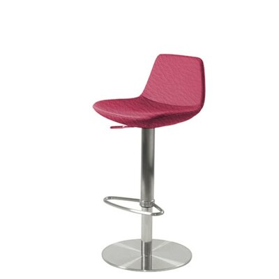Shinn Piston Adjustable Swivel Height Bar Stool Leg Color: Chrome, Seat Color: Purple Leatherette