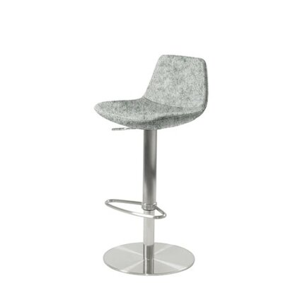 Shinn Piston Adjustable Swivel Height Bar Stool Leg Color: Chrome, Seat Color: Light Gray Organic Wool