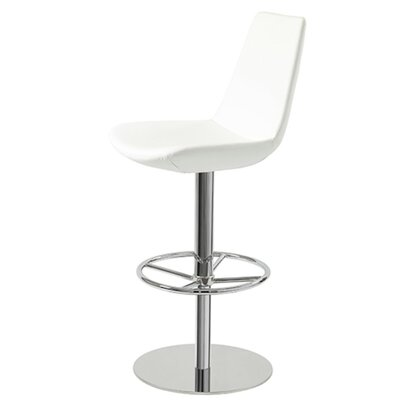 Shinkle Piston Adjustable Height Swivel Bar Stool Leg Color: Stainless Steel, Seat Color: White Leatherette