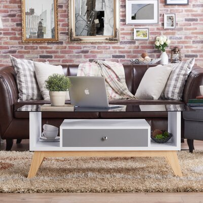 Levi Coffee Table with Storage Color: Gray