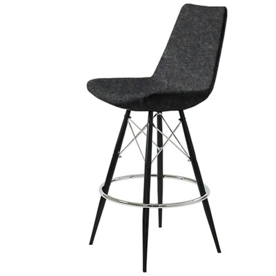 Shinkle Dowel 29 Bar Stool Leg Color: Black, Seat Color: Dark Gray Organic Wool