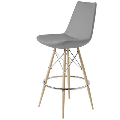 Shinkle Dowel 29 Bar Stool Leg Color: Natural, Seat Color: Gray Leatherette