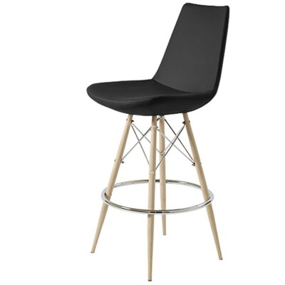 Shinkle Dowel 29 Bar Stool Leg Color: Natural, Seat Color: Black Leatherette