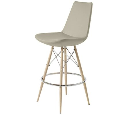 Shinkle Dowel 24 Bar Stool Leg Color: Black, Seat Color: Bone Leatherette