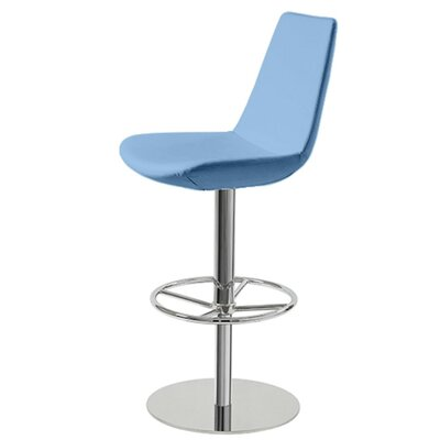 Shinkle Piston Adjustable Height Swivel Bar Stool Leg Color: Chrome, Seat Color: Sky Blue Organic Wool