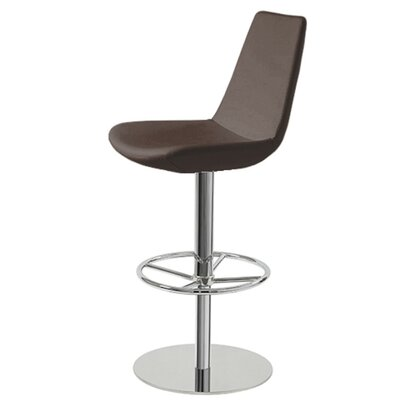 Shinkle Piston Adjustable Height Swivel Bar Stool Leg Color: Stainless Steel, Seat Color: Brown Leatherette