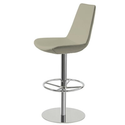 Shinkle Piston Adjustable Height Swivel Bar Stool Leg Color: Chrome, Seat Color: Bone Leatherette