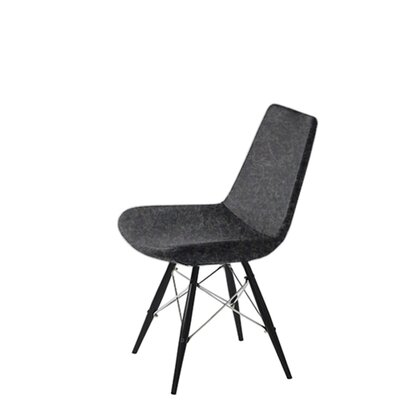 Shinkle Dowel Upholstered Dining Chair Upholstery Color: Dark Gray Organic Wool, Leg Color: Black
