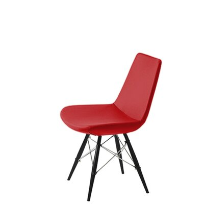 Shinkle Dowel Upholstered Dining Chair Upholstery Color: Red Leatherette, Leg Color: Black