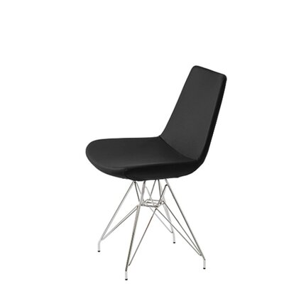 Shinkle Tower Upholstered Dining Chair Upholstery Color: Black Leatherette